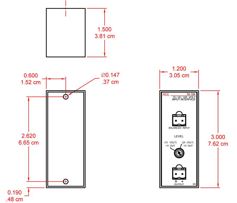 25 V, 70 V, 100 V Speaker Level Input Interface - Unbalanced line output -  RDL TX-70ATri-Tek Electronics