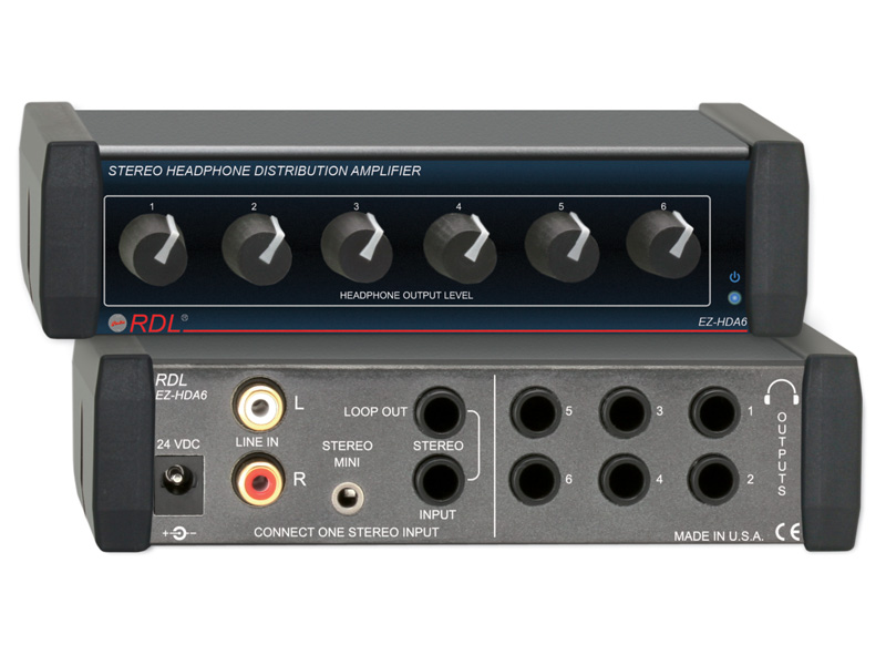 Stereo Headphone Distribution Amp - 1X6 Rear-Panel Outputs