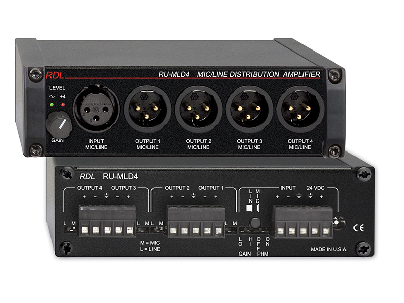 Microphone / Line Distribution Amplifier - 1x4